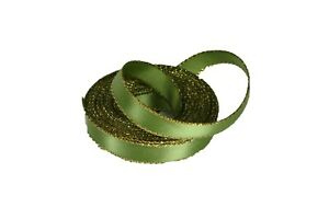 """5 Yards Rolled up 3/8"""" Satin Ribbon Double face Metallic GOLD Edge Choose Color"""