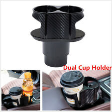 Car Center Console Dual Cup Holder Drinking Bottle Holder ABS Carbon Fiber Color
