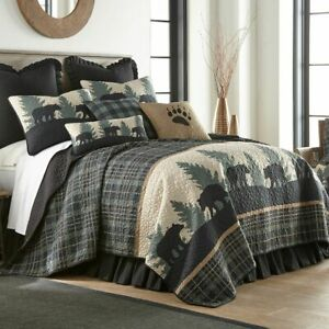 Donna Sharp Bear Walk Quilted Rustic Country Soft Polyester King 3-Piece Set