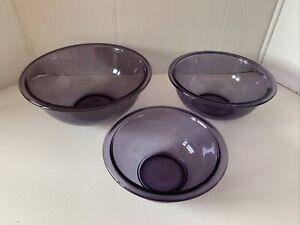 Vintage Purple Amethyst Pyrex Glass Nesting Mixing Bowls-Set of 3 - 322 323 325
