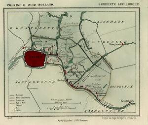 Antique Map-NETHERLANDS-TOWN PLAN-LEIDERDORP-ZUID HOLLAND-Kuyper-Kuijper-1865