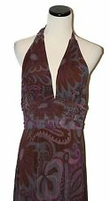 ECI Plum Floral Paisley Print Halter Neck Tie Sleeveless Layered Long Dress 8