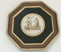 vintage Large metal lid Grecian style women dancing and playing flute graphics
