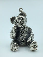 Large TEDDY BEAR Sterling Silver CHARM Necklace Pendant CUTE Ornament GIFT