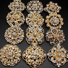 Lot 12pc Mixed Alloy Gold Rhinestone Crystal Brooches Pins DIY Wedding Bouquet