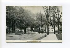 Reading MA Mass Woburn Street view, homes, antique postcard, need street sweeper