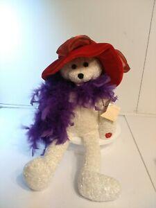 VTG Chantilly Lane Musical Singing Bear Plush Red Hat Society Collector
