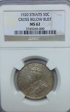 STRAITS 1920  NGC MS62 50  CENTS GRADED