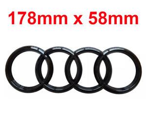 Black Gloss Rear Back Audi Badge Rings Logo Emblem Audi TT Q A R- 178mm x 58mm*