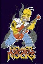 THE SIMPSONS ~ HOMER ROCKS 24x36 CARTOON POSTER Guitar Matt Groenig NEW/ROLLED!