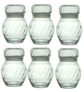 6 X 275ml Glass Spice Herb Storage Jars Containers Canisters Pots  AirTight Jar