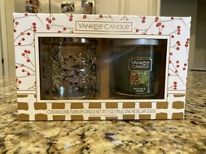 Yankee Candle BALSAM & CEDAR 7 oz. Tumbler & Sleeve Gift Set NEW IN BOX