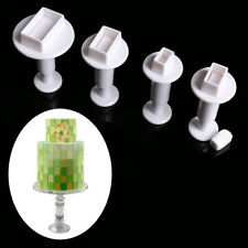 4PCS Fondant Cake Decorating Tools Cookies Mould Plunger Rectangle Cutter Molds