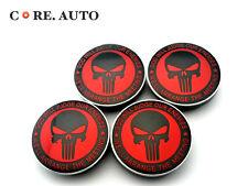 4 X 55.5mm Red Skull The Punisher Auto Wheel Center Hubs Caps For CITIGO