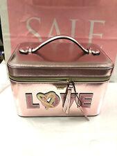 Victoria's Secret Runway Vanity Train Makeup Case Shiny Pink sequin Logo NWT