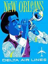 Vintage travel america air line new orleans jazz new art print poster CC5530