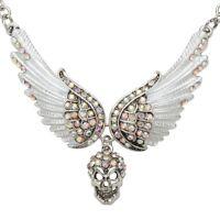 Guardian Angel Wing Skull Choker Necklace Women Biker Jewelry Gift NC07 Silver
