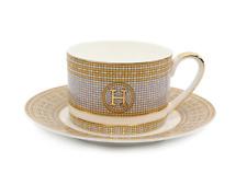 """12 Pcs """"H"""" Design  Bone China Tea Cup/Saucer - Gold"""