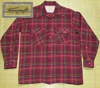 Vintage 1940's Plaid Shirt sz MED Wool Rockabilly Towncraft Long Sleeve Grunge