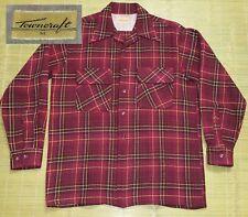 Vintage 1940's Plaid Shirt sz MED Wool Rockabilly Towncraft Long Sleeve Grunge