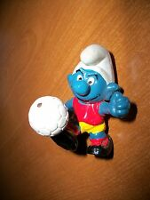 Vintage Smurfs Soccer Football Sports Rare Collectible Smurf Figurine Red Yellow