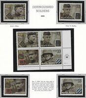 US MNH Stamps - Scott # 3393 thru 3396 - Distinguished Soldiers  Block + Singles