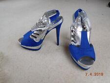 Ladies Blue / Silver Stiletto Shoe by NewLook,  Size 6  - 5.5 inch Heel.