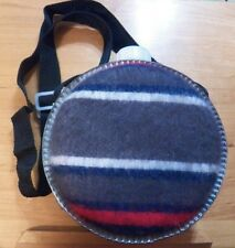 "Vintage Flannel Covered Aluminum Canteen with Adjustable Strap 7.5"" Diameter"