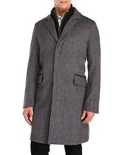 $698! NWT Cole Haan Men's Brushed Wool Herringbone Charcoal Grey Topper Coat XL