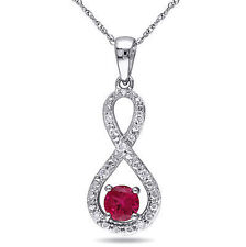 10k White Gold 1/10 CT Diamond & Ruby Infinity Crossover Pendant Necklace I2;I3