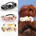 Women's Pearls Hair Band Elastic Flower Bead Rope Elegant Ponytail Holder New