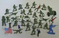 Large Vintage Lot of Plastic Toy Army Men U.S. WW2 Era Soldiers & Cannon 50mm
