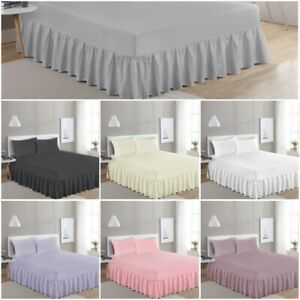 LUXURY 100% EGYPTIAN COTTON FRILLED VALANCE FITTED BED SHEET SINGLE DOUBLE KING