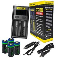 NITECORE SC2 fast battery charger w/4X RCR123A 16340 EBR65 rechargeable CR123A