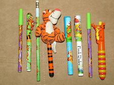 LOT Disney Winnie the Pooh Tigger 8 Ball Point Pen Pencil Cushy Clip Click Plush