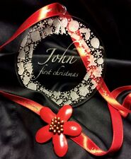 Personalizzata Christmas tree bauble, regalo tag; con ornamenti; scrivi il tuo nome