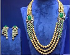 DESIGNER TRIPLE LINE EXACT EMERALD LOOK GREEN HYRO NECKLACE WITH GOLDEN PEARL