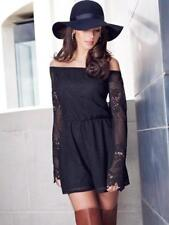 BNWT New LIPSY Black Lace Sheer Three Quarter Sleeve Off Shoulder Playsuit 14