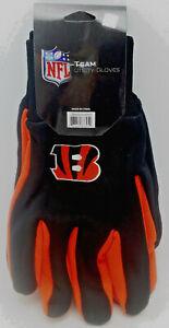 Cincinnati Bengals Gloves Adult Embroidered 2-Tone Black over Orange Utility