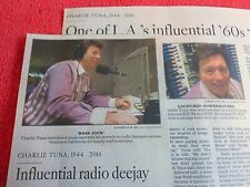 1944-2016 CHARLIE TUNA OBITUARY INFLUENTIAL LOS ANGELES RADIO DEEJAY