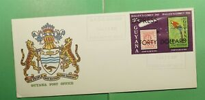 DR WHO 1987 GUYANA FDC SPACE HALLEYS COMET IMPERF S/S EXPRESS OVPT  g13422