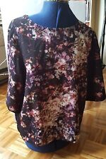 ASOS black floral print purple pink boat neck 3/4 sleeves tunic top shirt 12