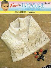"Emu 8682 Vintage Baby Knitting Pattern 18-19"" Cardigan 3 - 12 months 4 ply"