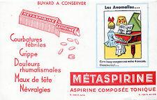 BUVARD METASPIRINE neuf = ANOMALIES = FILLE + PIANO + ERREURS