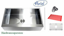 "33"" Stainless Steel FLAT Front Farm Apron Kitchen sink Zero Radius Ariel"