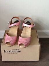 Swedish-Hasbeens-Super-High-Clogs-Women- Size Euro 40 /US size 10 Pink -Peep-Toe