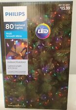 Philips 80 ct LED Christmas Smooth Mini Garland String Lights Multicolored NEW