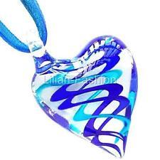 Blue Aqua Swirl Heart Lampwork Glass Murano Bead Pendant Ribbon Cord Necklace