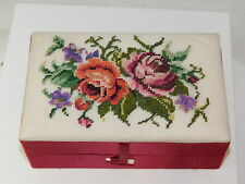 Hand Made Petit Point Floral Bouquet Red Satin Hinged Trinket Jewelry Box