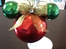 MINNIE MOUSE INSPIRED EARS RED PEARLISED & GREEN CHRISTMAS TREE BAUBLE